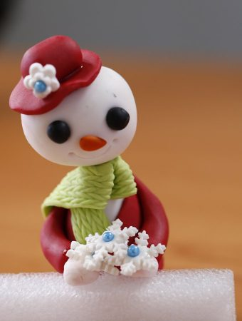 Fondant Christmas Cake With A Snowman Topper