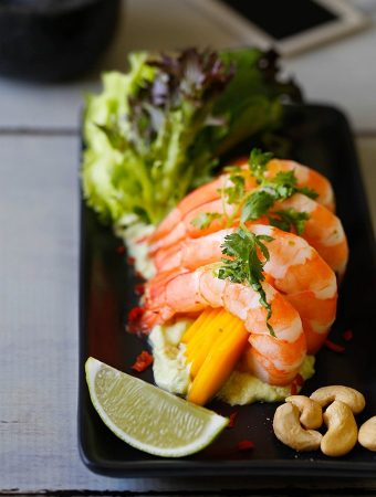 Mango Prawn Salad With Avocado Yogurt Sauce