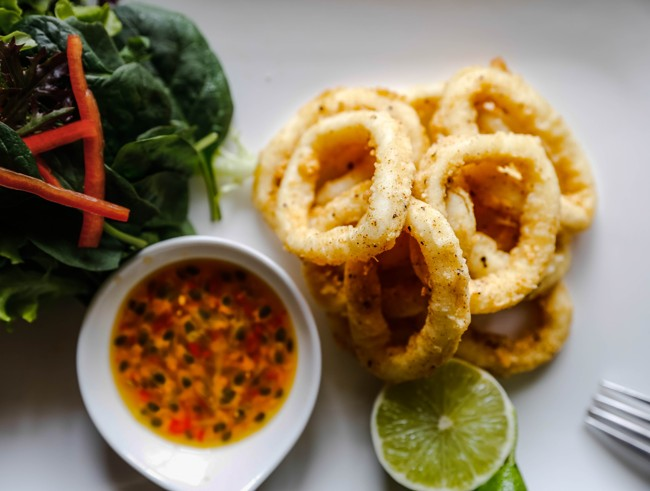 fried-squid-with-salad-and-passionfruit-sauce