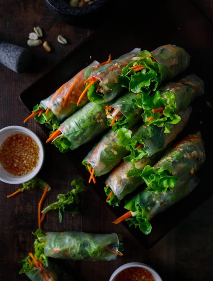 Healthy Vietnamese Chicken Rice Paper Rolls Sweetentheworld