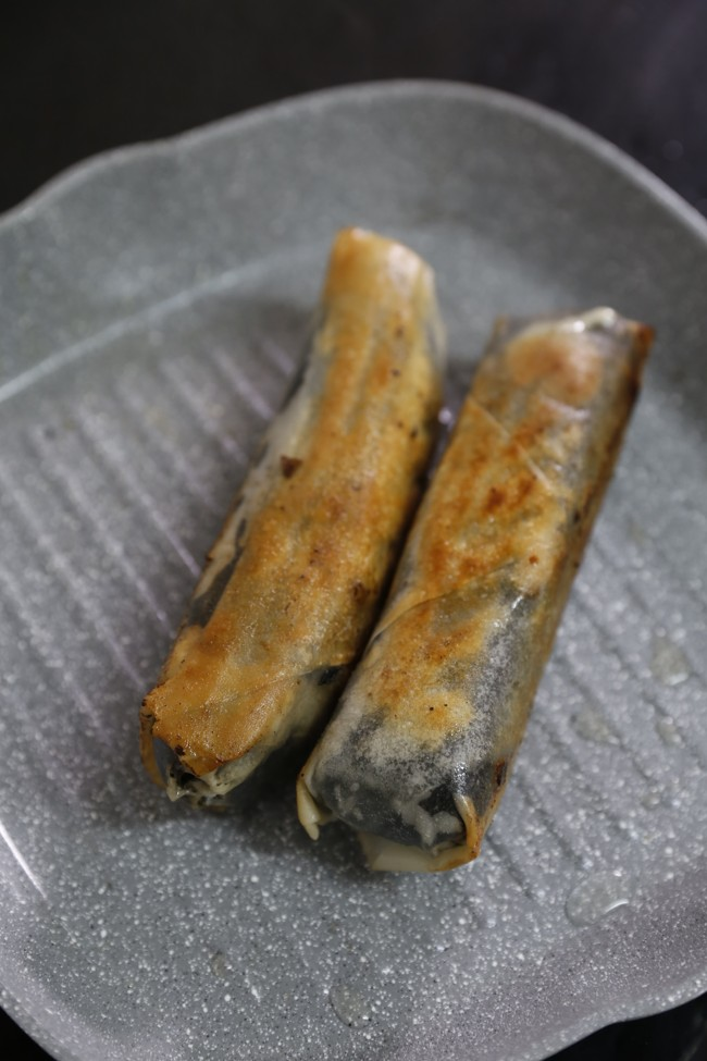 Fried wrapped salmon