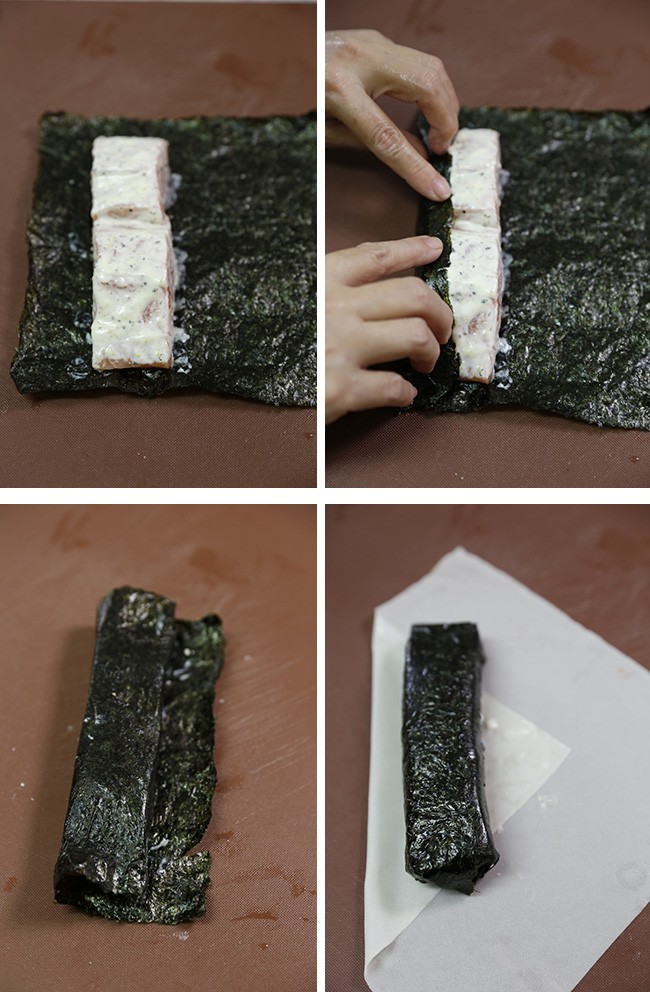 Rolling salmon with seaweed