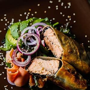 Wrapped Salmon With Avocado Salad Recipe