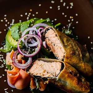 Wrapped Salmon With Avocado Salad Recipe