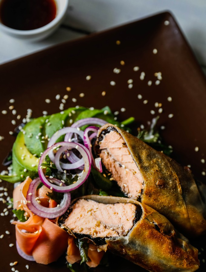 Wrapped Salmon With Avocado Salad